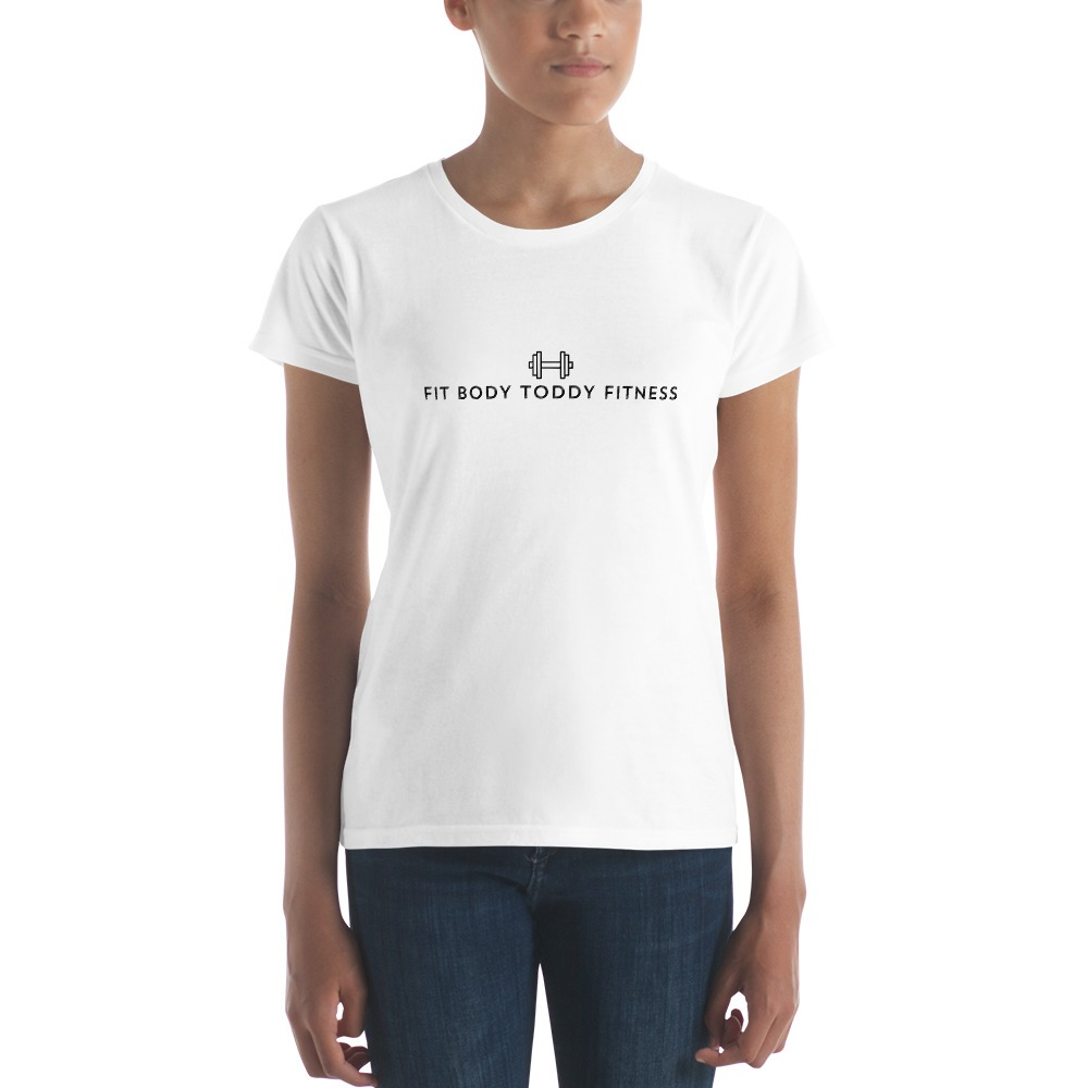 Straight-Faced Young Woman Wearing White Branded Female Fit Body Toddy Fitness T-Shirt