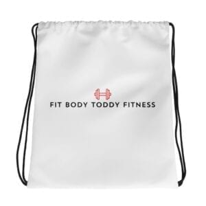 White Branded Fit Body Toddy Fitness Drawstring Gym Bag