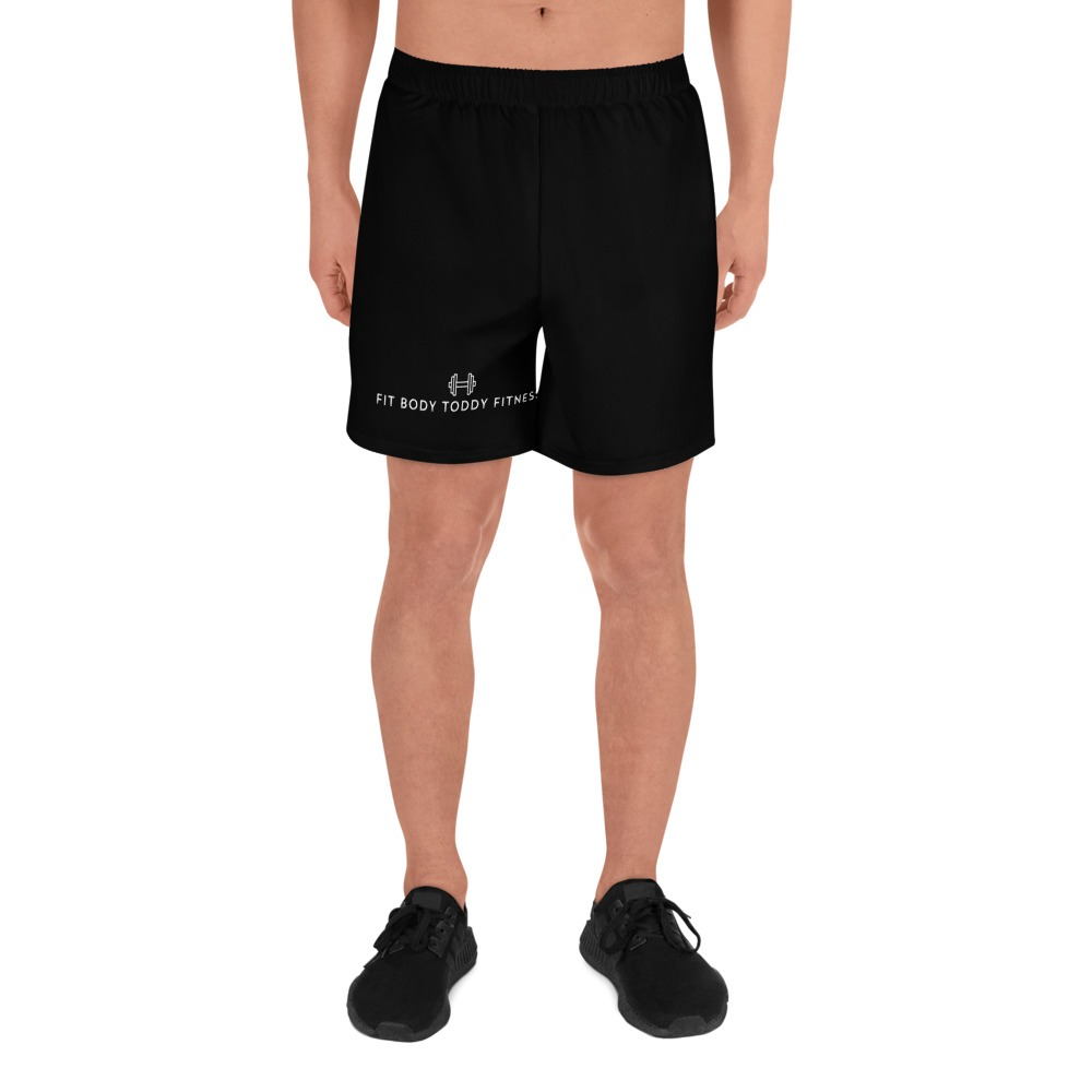 Man Wearing Black Branded Fit Body Toddy Fitness Male Gym Shorts