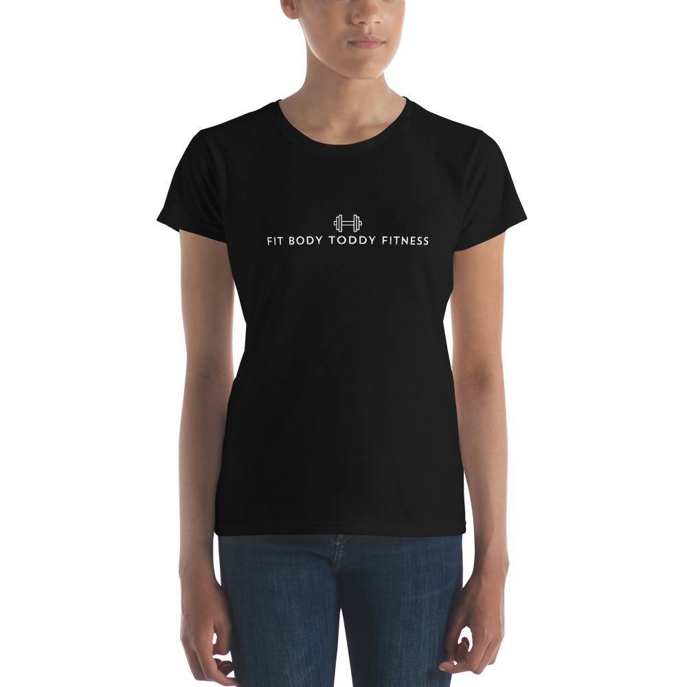 Straight-Faced Young Woman Wearing Black Branded Female Fit Body Toddy Fitness T-Shirt
