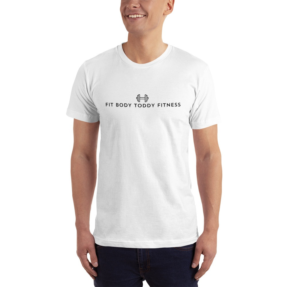 Smiling White Man Wearing White Branded Male Fit Body Toddy Fitness T-Shirt