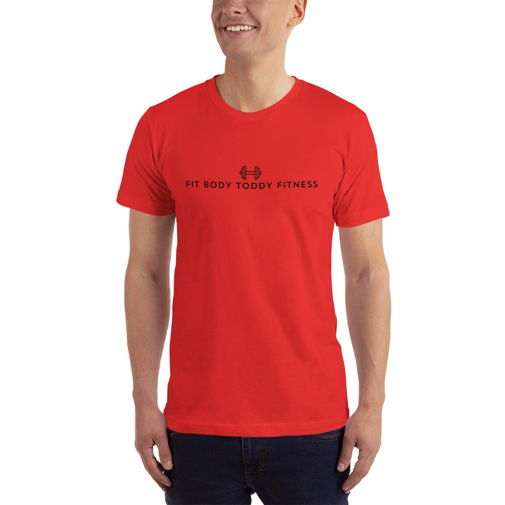 Smiling White Man Wearing Red Branded Male Fit Body Toddy Fitness T-Shirt