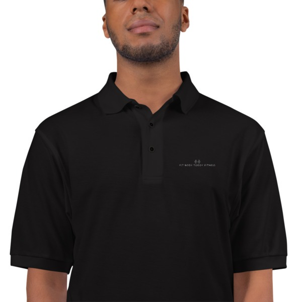 Black Man Wearing Black Branded Fit Body Toddy Fitness Polo Shirt